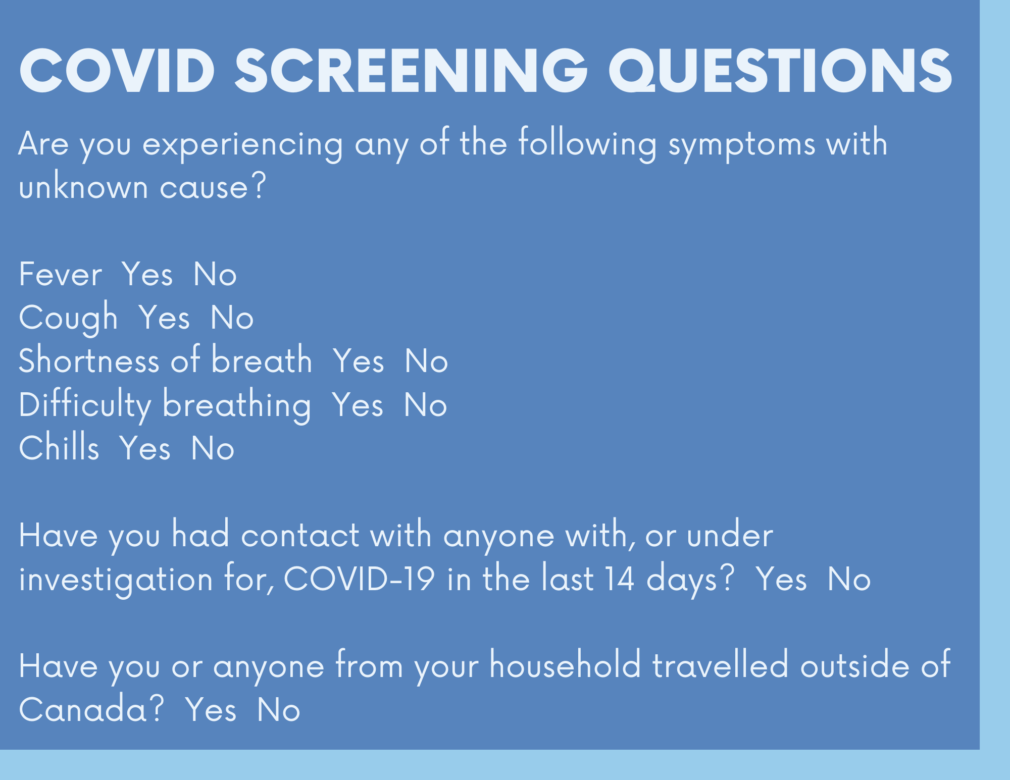 COVID D&D Screening Questions